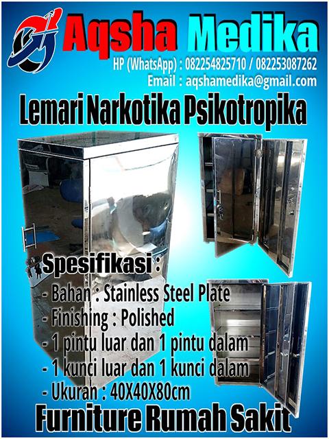 Lemari Narkotik Stainless Steel Plate 1 Pintu Luar dan 1 Pintu Dalam 40x40x80cm