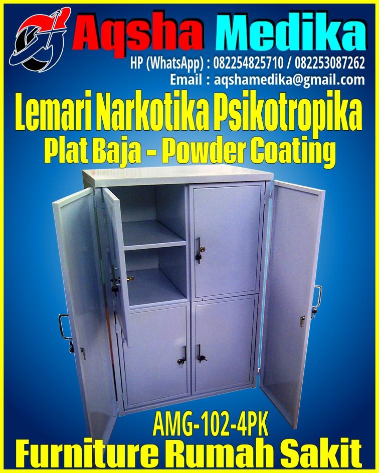 Jual Lemari Narkotika Psikotropika Plat Baja Ukuran Besar 80x60x120cm AMG-102-4PK