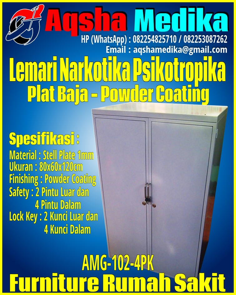 Lemari Narkotika Psikotropika Plat Baja Ukuran Besar 80x60x120cm AMG-102-4PK
