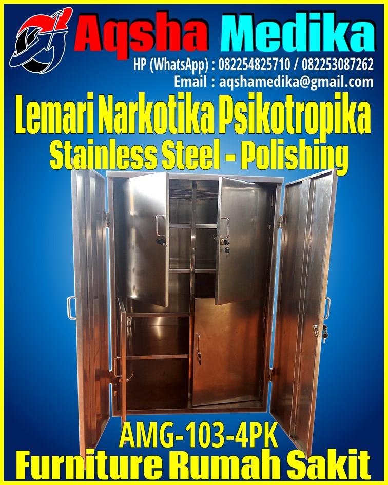 Lemari Narkotika Psikotropika Stainless Steel Ukuran 80x60x120cm AMG-103-4PK