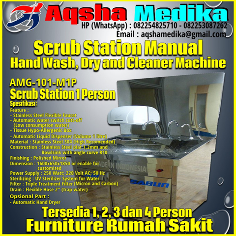 Mesin Scrub Station 1 Person Manual type AMG-101-M1P Aqsha Medika 2018