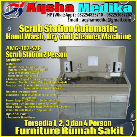 Scrub Zink Station 2 Person Full-Automatic AMG-102-S2P Aqsha Medika 2018
