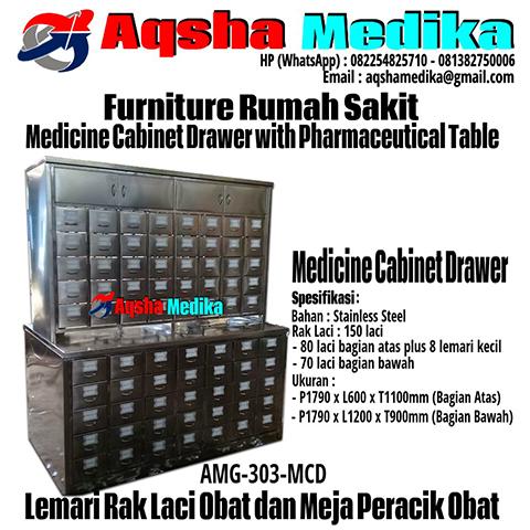 Jual Lemari Rak Laci Obat dan Meja Peracik Obat Murah - Medicine Cabinet Drawer with Pharmaceutical Table