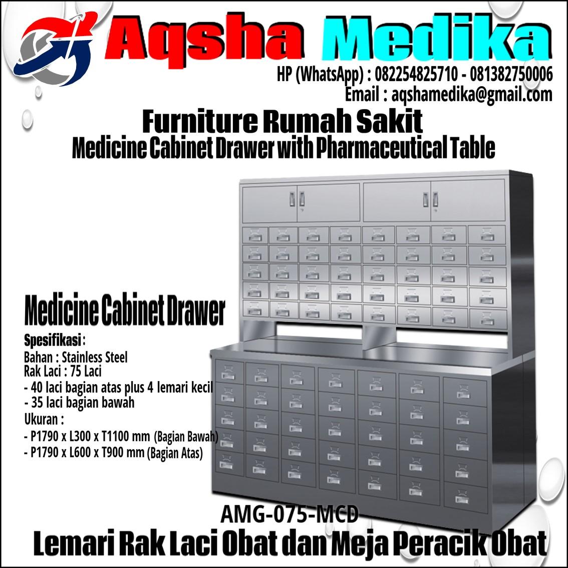 Jual Lemari Rak 75 Laci Obat dan 4 Lemari kecil -AMG-075-MCD Aqsha Medika